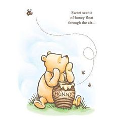Decorate your space with Winnie the Pooh! This Winnie the Pooh Sweet Scents of Honey Stretched Canvas Print shows a fun image of Pooh bear sitting on the grass, his arms resting on a pot of honey with bees flying about, complete with the words: Disney Winnie The Pooh, Winnie The Pooh Tattoos, Winnie The Pooh Drawing, Winnie The Pooh Pictures, Winnie The Pooh Classic, Winnie The Pooh Honey, Winnie The Pooh Nursery, Winne The Pooh, Vintage Winnie The Pooh