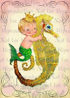 BABY MERMAID s577 BABY ROOM DECOR Baby Mermaid Merboy by wwwvintagemermaidcom, $3.00