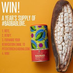A simple vote to change lives of those in rural Africa!  Plus a chance to win £10k and a year's supply of baobab!!
