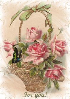 Vintage Birthday Postcard with a Basket of Gorgeous Pink Roses - Birthday Greetings Birthday Postcards, Vintage Birthday Cards, Vintage Greeting Cards, Vintage Ephemera, Vintage Postcards, Vintage Rosen, Vintage Diy, Images Vintage, Rose Art