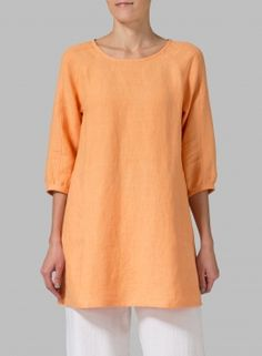 Vivid Linen Elbow Sleeve Tunic