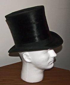 Vintage Tall Black FUR Silk TOP HAT 4 Place DE L'Opera Paris France Hampden Park | eBay