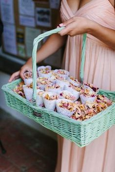 A mint green basket full of peach & pink confetti in lace doily cones - Image by Camilla Arnhold - Naomi Neoh Fleur blush wedding dress for a beautiful peach and online dating themed back garden wedding with unique gift ideas for bridesmaids Star Wedding, Trendy Wedding, Diy Wedding, Wedding Dress, Wedding Reception, Wedding Entrance, Wedding Scene, Wedding Favours, Reception Ideas