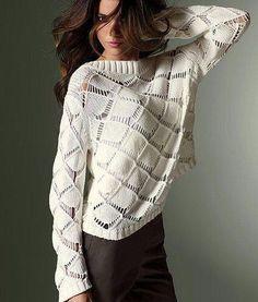 Пуловер узором крупные ромбы