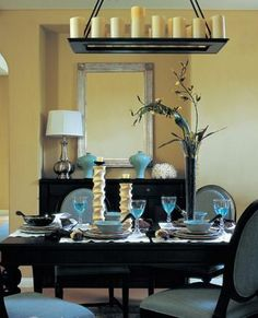 Inspiration: Black & blue dining room.  My walls are blue but this does show how the black buffet and table look against a light wall.  My chairs are aqua leather Parsons except master & mistress which are Apple Green French chippendale.
