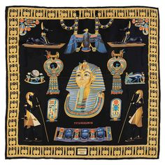 Rare Hermes Silk Scarf 'Tutankhamun' by Dimitri Rybaltchenko | From a collection of rare vintage scarves at https://www.1stdibs.com/fashion/accessories/scarves/