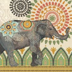 Portfolio Canvas Caravan Elephant 1 by Jennifer Brinley 2 Piece Graphic Art on Wrapped Canvas Set Elephant Wall Art, Elephant Love, Elephant Illustration, Illustration Art, Elefante Hindu, Decoupage, Arte Tribal, Indian Elephant, Ganesha