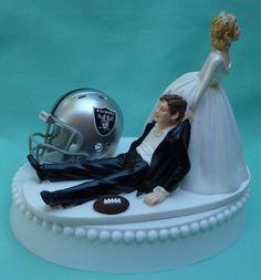 Oakland Raiders Fun Football Themed Wedding Cake Topper, Garter Grooms   WedSet - Wedding on ArtFire