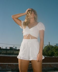 Girls Cinch Puff-Sleeve Crop Top | Girls | HollisterCo.com Hollister, White Shorts, Crop Tops, Sleeves, Top Girls, Women, Fashion, Moda, Fashion Styles