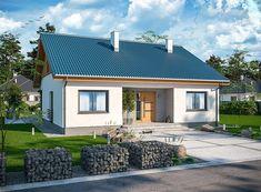 Projekt domu Tanis 98,96 m2 - koszt budowy 205 tys. zł - EXTRADOM Beautiful House Plans, Beautiful Homes, Iron Front Door, Wooden Pallet Furniture, Balcony Design, Small House Design, Tiny House Plans, Building Plans, Simple House