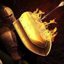 images Tomando sobretudo o escudo da fé, com o qual podereis apagar todos os dardos inflamados do maligno. Efésios 6:16 A quarta parte da armadura é o escudo. O Thureos era um escudo grande usado ...