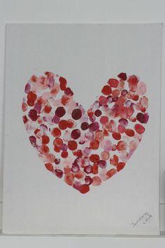 Family fingerprint heart art canvas