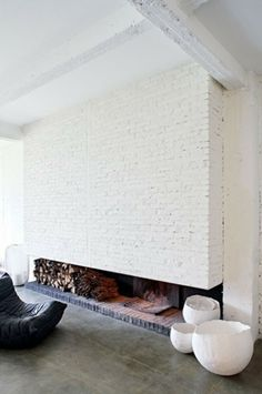 White brick fireplace and a room design design house design home design Home Interior, Interior Architecture, Interior And Exterior, Interior Design, Container Architecture, Brick Interior, Interior Colors, Interior Plants, Interior Modern