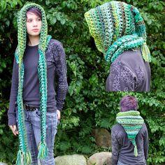 Hood Scarf cowl shawl Green brown