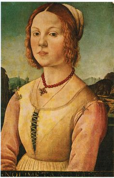 Born in Florence - Lorenzo di Credi's 1488 Portrait of a Young Woman. Love the pendant on the coral necklace. Also note the eyelets on the shoulders