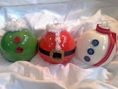 Glass Holiday Ornaments Set of 3 by CreativeElementsArt on Etsy