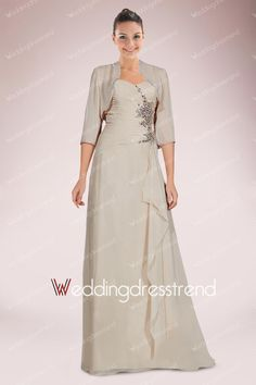 [$144.99] Elegant Sweetheart A-Line Floor-length Mother of Bride Dress Featuring Refined Ruches and Rhinestone Motifs with Jacket