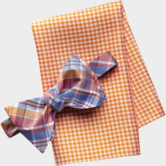 Tommy Hilfiger Blue and Red Bow Tie and Blue Check Pocket Square Set | Men's Wearhouse
