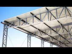YouTube Steel Trusses, Roof Trusses, Steel Structure Buildings, Metal Structure, Warehouse Layout, Steel Framing, Steel Building Homes, Roof Truss Design, Steel Frame House