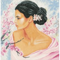 """LanArte Lady With Blossoms On Linen Counted Cross Stitch Kit-15.75""""""""X16"""""""" 30 Count"""