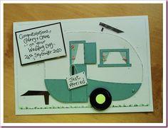 Wedding Card, caravan camper handmade card, cute idea