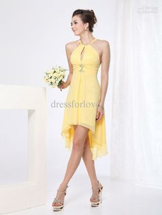 2013 Beach Bridesmaid Dresses Halter Chiffon Hi-Lo Sheath Fold Simple High Low Prom Dresses