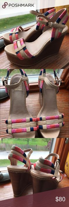 "Ella Moss- Ryann Wedge Sandals Multicolor threads wrapped around leather straps. 4 1/2"" wooden wedge heel with 1 1/2"" platform. Leather insole, lining, and outsole. Only worn a few times because they were too small for me.  ✨Open to offers ✨ 🌟I ship either that day or the next🌟 Ella Moss Shoes Wedges"