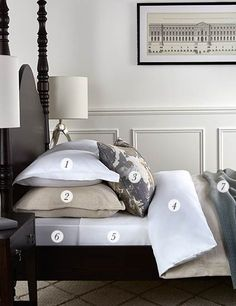 The essential guide to creating that irresistible show home bed display ... 1. OXFORD PILLOWCASE 2. EUROPEAN SQUARE PILLOWCASE 3. ACCENT CUSHIONS 4. DUVET COVER 5. FLAT SHEET. 6. FITTED SHEET 7. THROW 8. VALANCE -HOUSEWIFE PILLOWCASE – BOUDOIR PILLOWCASE – BEDSPREAD – MATTRESS TOPPER