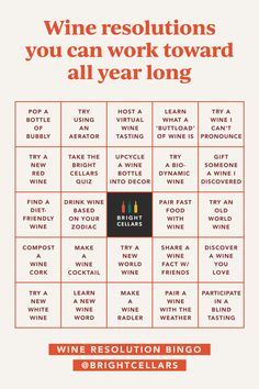 Wine new year is all year! If you're looking for resolutions, resolution lists, new challenges, new goals, or new year challenges, try our Wine Resolutions BINGO card! Save to keep yourself accountable, or click through to our blog for 11 Wine-Inspired Resolutions 👉 Wine Games, Resolution List, Wine Guide, Bingo Cards, Resolutions, Wine Tasting, Need To Know, How To Become, Bubbles