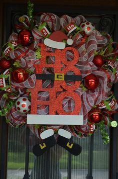 Deco Mesh Wreath for Christmas Santa HO HO HO by JoowaBean on Etsy
