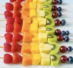 fruit and foodYou can find Trying to be healthy and more on our website.fruit and food Rainbow Fruit Skewers, Fruit Kebabs, Rainbow Food, Dessert Skewers, Healthy Menu, Healthy Fruits, Healthy Snacks, Keto Fruit, Fruit Food