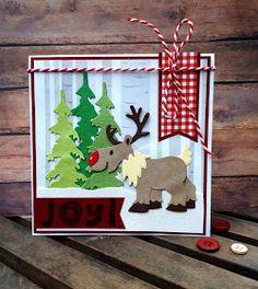 Crea-spul van Colien: 52 Weeks to Christmas, Slee, Marianne Design Cards, 52 Weeks, Christmas Cards, Christmas Ornaments, Scrapbook Sketches, Love Cards, Shadow Box, Reindeer