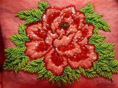 Learn to embroider with beads Beaded Flowers Patterns, Floral Embroidery Patterns, Hand Embroidery Flowers, Hand Work Embroidery, Silk Ribbon Embroidery, Hand Embroidery Patterns, Embroidery Stitches, Zardozi Embroidery, Tambour Embroidery