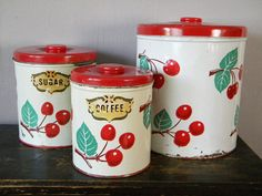 Vintage Set Of Decoware Cherry Canisters