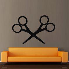Wall decal decor decals sticker art scissors haircut salon hair hairstyle stylist (m367)