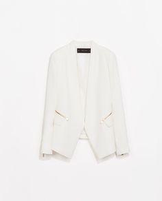 Sure, I don't need a white blazer. But OMG. SOFT BLAZER WITH ZIPS from Zara $129.99