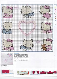 LAS MANUALIDADES DE NOELIA MILÁN: Punto de cruz Hello Kitty Kawaii Cross Stitch, Cross Stitch For Kids, Cross Stitch Baby, Cross Stitch Charts, Cross Stitch Patterns, Crochet Patterns, Beaded Cross Stitch, Cross Stitch Embroidery, Baby Chart
