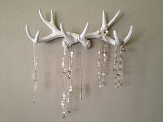 Faux Deer Antler Rack White Jewelry Holder Scarf Holder Mug Holder