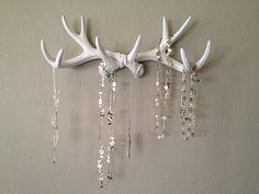 Faux Deer Antler Rack White Jewelry Holder Scarf Holder Mug Holder