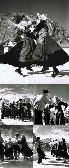 Dancers in national costume.  Haute-Maurienne/France, 1941, by Denise Bellon. From the series: Valloire. Danses de la Haute-Maurienne.