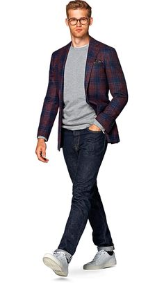 Jacket Red Check Havana C924i   Suitsupply Online Store