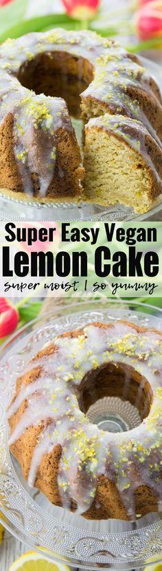 This vegan lemon cake is so moist and incredibly easy to make! Vegan baking can be so easy! Find more vegan cakes and vegan desserts at veganheaven.org! <3
