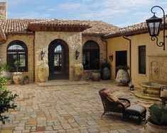 Adorable Colonial House Exterior designs: Gorgeous Mediterranean Patio Stone Floor Classic Furniture Collection