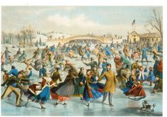 "https://flic.kr/p/yUniUF | Postcrossing GB-703614 | Postcard with painting of ""Central Park, Winter:  The Skating Pond"" by Charles Parsons for Currier & Ives.  Sent by a Postcrosser in Great Britain."