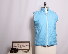 La Martina Saddlery Women's Small Quilted Vest, Sky Blue and Lime