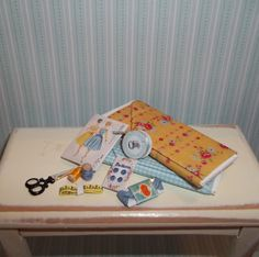 Dollhouse Miniature Sewing Set 3  Blue & Yellow by CountryMini, $9.99