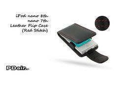 PDair iPod nano 8th / nano 7th Leather Flip Case (Red Stitch)