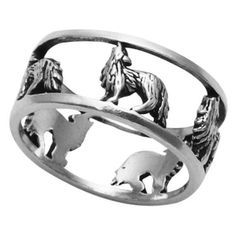Sterling Silver Openwork Wolf Band Ring: Finely Crafted from Sterling Silver Oxidized Polished Finish Openwork design attracts attention Sterling Silver Jewelry, Silver Jewellery, Jewellery Shops, Hammered Silver, Jewellery Box, Jewellery Earrings, Silver Bracelets, Jewelry Stores, Wolf Band