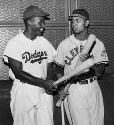 Brooklyn Dodgers Jackie Robinson and Cleveland Indians Larry Doby.