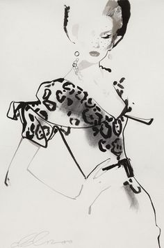 Fashion illustration by David Downton, 2010, Adore Dior